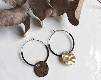 Alice hoops with hammered sequin and beads miyuki