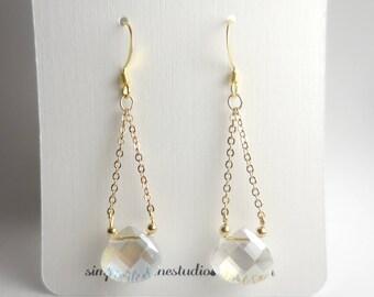 Briolette Crystal Earrings, Dangle, Minimalist, Gold chain,