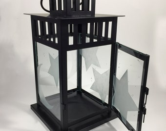 Glass Etched Candle Lantern