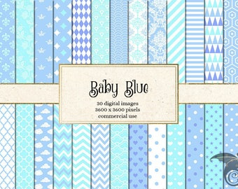 Baby Blue Digital Paper, baby shower digital paper, blue Patterns backgrounds, baby boy blue scrapbook paper download commercial use