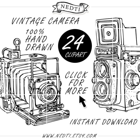 Vintage Camera Photography Doodle Clip Art Hand Drawn