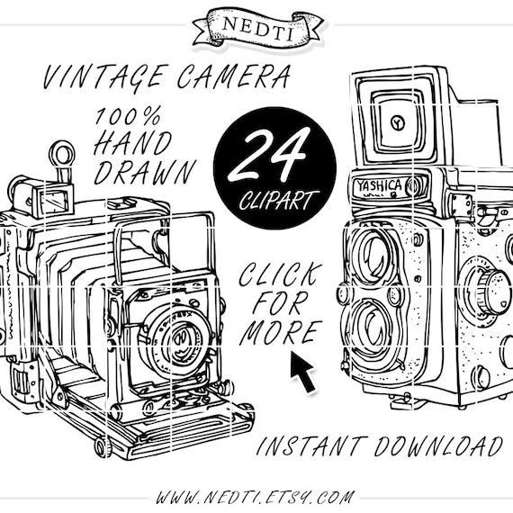 Vintage Camera Photography Doodle Clip Art Hand Drawn