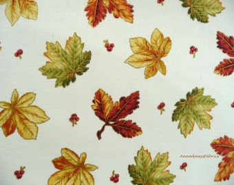 Fall Leaves Fabric, Red Rooster 24681 Harvest Breeze, Metallic Fall Quilt Fabric, Autumn Leaves Quilt Fabric, Cotton