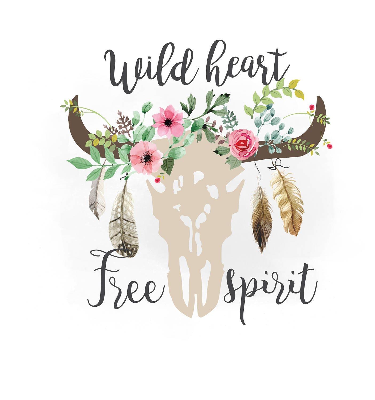 Wild Heart Spirit Svg Clipart Boho Floral Cow Skull
