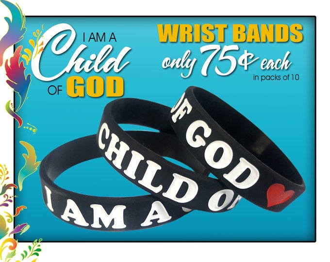 "2018 LDS Primary  ""I Am A Child Of God"" silicone bracelet wristbands 4 size christmas gift or birthday gifts baptism great to be 8"