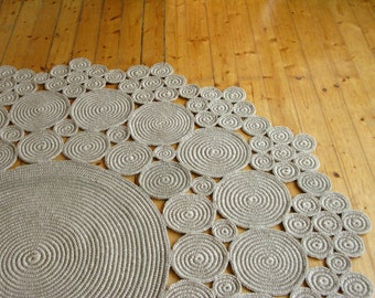 6 ft Crochet jute circle rug / 100% naturals materials
