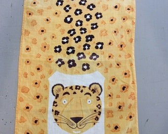Vintage Mid Century Towel Tammis Keefe Leopard and His Spots Smile Retro Kitchen