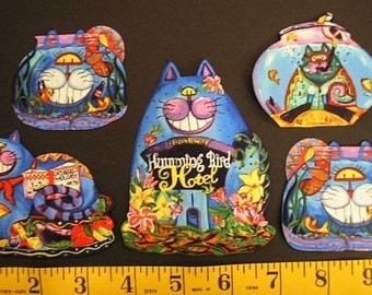 CATS Fabric Hummingbird Hotel BRIGHT Funky Abstract Fish Bowl Bird Appliques Iron On 12 Pieces