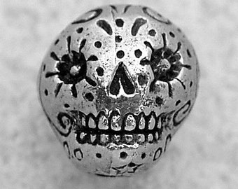 Green Girl Studios Pewter Sugar Skull Bead