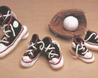 Vintage Crochet Boys Sporting Slippers Pdf/OhhhBabyBaby/6 1/2 inches to 10 1/2 inches childs foot size Instant Download Pdf