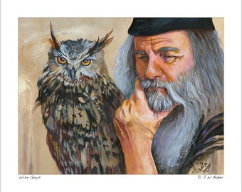 """Owl and Wizard Print - """"Wise Guys"""" - 8x10 Storytelling Illustration Reproduction"""