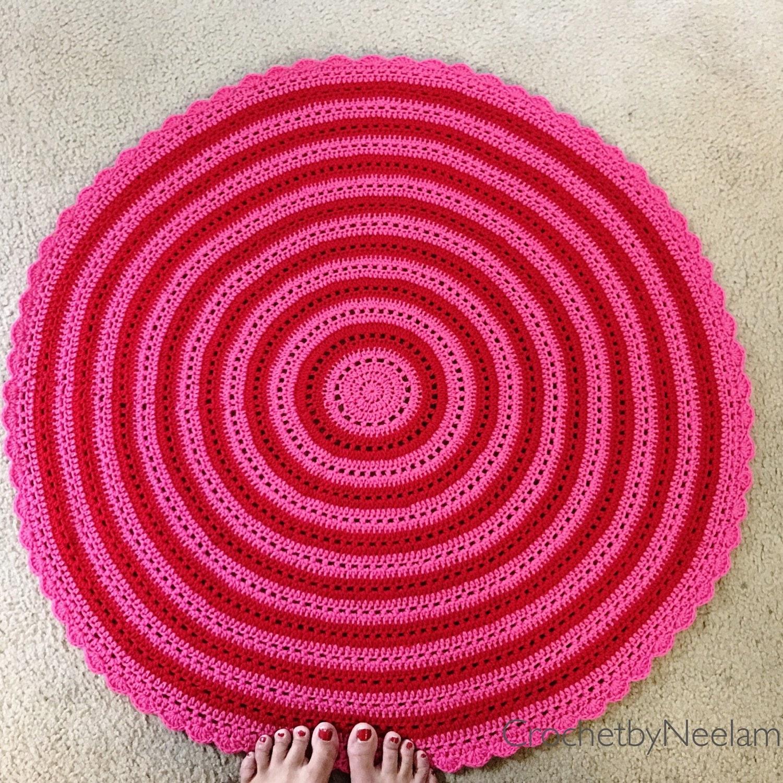 Crochet Floor Rug Decorative Floor Rug Floor Rug Round Crochet Rug ...