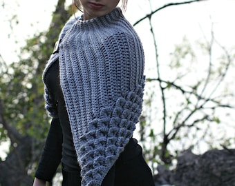 CROCHET PATTERN: Crocodile Stitch Capelet - Permission to Sell Finished Product