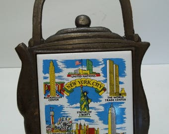 Vintage 1970's New York Teapot Trivet Cast Iron Tile Souvenir