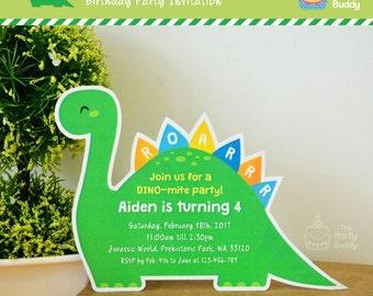 Cute dinosaur invite etsy dinosaur party invitation diy lovely green dino cutout birthday party invites digital printable solutioingenieria Gallery