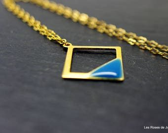 graphic pendant square pendant, jewelry, fine gold, enamel jewelry style 80's