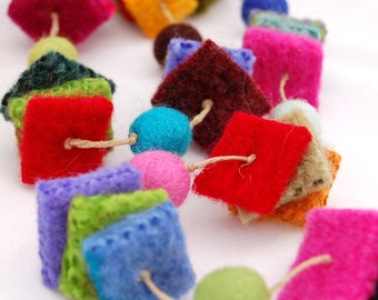 felted wool garland festive squares beads recycled upcycled green