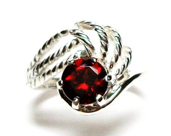 """Garnet, garnet  ring, anniversary ring, engagement, mom ladies, red ring,   s 5 3/4  """"Candy Apple Red"""""""