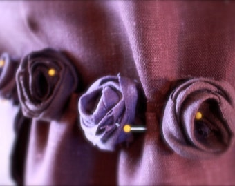 adding handmade linen roses deco fee on annyschoo custom dress