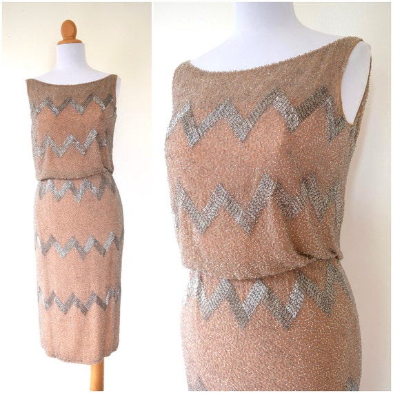 Vintage 50s 60s Stroke of Midnight Heavily Beaded Nude Silk Cocktail Dress with Ballet Slipper Pink Lining (size xs, small)