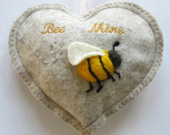 Valentine Heart Bee Mine needle felted bee, scented heart, personalised with name