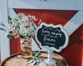 WEDDING ART: Rustic Chalkboard Wedding Sign ... In Memory or CUSTOM Chalkboard Rustic Industrial Wood Sign