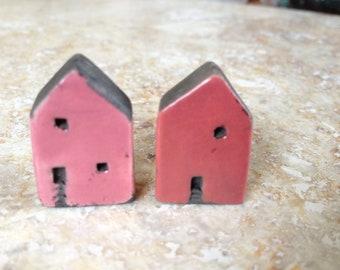 house beads,kiln fired,clay, raku, pink