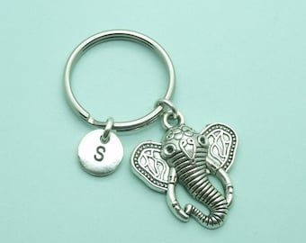 Elephant charm initial keyring / keychain, keyring accessory, personalised keychain, initial gift for her/him, animal, safari, zoo