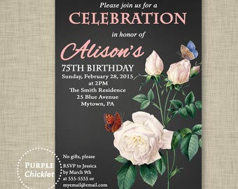 50th 60th 70th 75th Birthday Invitation Roses and Butterflies Invitation Elegant Feminine Floral Invite DIY Printable Files 272