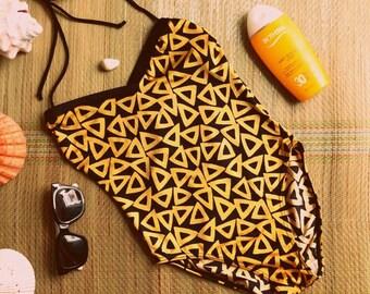 BOLD geometric ONE-PIECE swimsuit black gold swimming costume