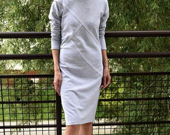 FOG - 100% cotton dress with stitching / midi dress / vintage dress / simple dress / unique dress / grey dress / dresses with sleeves
