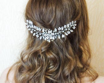 Bridal hairpiece Swarovski Bridal Headpiece Rhinestone hair piece Crystal Wedding Hair Accessories Bridal Adornment hair comb Leaf Hair Comb
