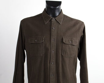 Vintage  Shirt // Man // Cotton // Flannel // Brown//