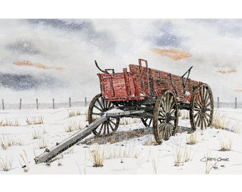 Wagon Pasture - Winter Landscape, Art Print, Watercolor Painting, Old wagon art, Christmas gift ideas