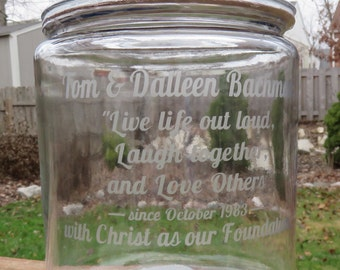 Your Custom Quote or Phrase, Glass-Etched on 1-Gallon Cookie Jar