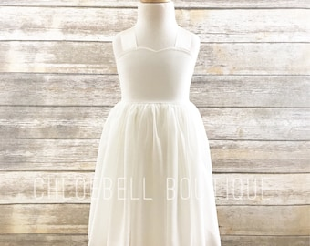 Ivory Chiffon Flower Girl Dress - Sweetheart flowergirl dress - Beach wedding flower girl dress- Special Occasion dress -