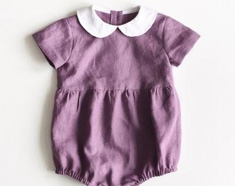 Toddler Romper, Linen Romper, Linen Baby Romper, Linen Onesie, Mauve Linen, Mauve Romper, Ultraviolet, Peter Pan Collar, Baby Girl Clothes