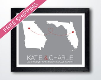 Personalized Two States Art Print - His and Hers Hometowns Engagement Gift, Wedding Gift , Anniversary Gift, Long Distance Relationship Gift