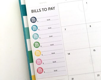 Bill tracker stickers for WEEKLY Simplified Planner