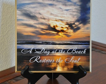 Beach Photography Sunset on Sand Inspirational Quote A Day at the Beach