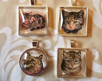4 Pendant Set - Cats in Silvertone