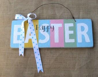 Easter Sign, Wooden Sign, Wood Door Hanger, Pastel Easter Sign, Easter Decoration, Spring Sign, Wood Sign, Easter Decor, Spring Decor