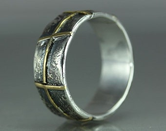 A Gold Silver Organic Handmade Ring Band