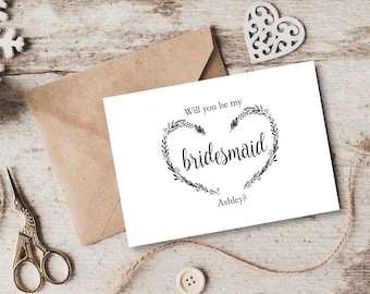 Will you be my bridesmaid card template, Personalised Vintage Heart Wreath Editable wedding card, Instant Download