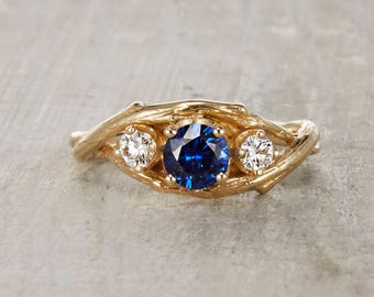 Three Stone Engagement Ring. Sapphire and Diamond Ring. 5mm Sapphire Diamond Unity Ring. Yellow Gold, White Gold, Rose Gold or Platinum.