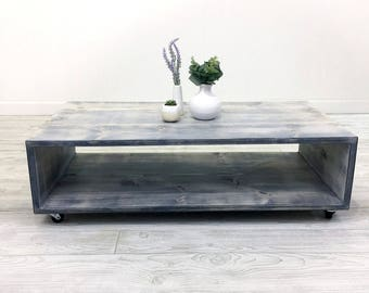 Low Coffee Table, Rustic Coffee Table, Black, Gray, Distressed, Farmhouse  Furniture