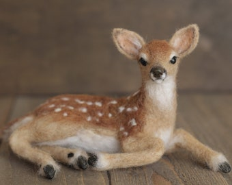 Needle felted Fawn, Farmhouse decor, Needle felted animals, realistic felted animals, deer