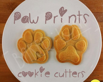 paw prints cookie cutters | biscuit cutter | heart realistic paws print dog lover gifts dogs cat snacks foot prints feet footprint pup puppy