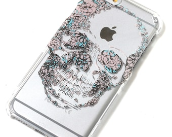 Flower Floral Skull Henna Style Transparent Clear Phone Case iPhone 6, 7, SE, 6 Plus, 7 Plus, 6S, 5, 5C, 5S, iPhone 8, iPhone 8 plus, Galaxy