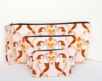 ULTIMATE 3 piece Zipper Pouch Set, MENDOCINO MERMAIDS in Blush PInk, Heather Ross Fabrics